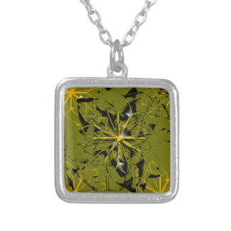 Golden Rose Petals Abstract Blots Silver Plated Necklace