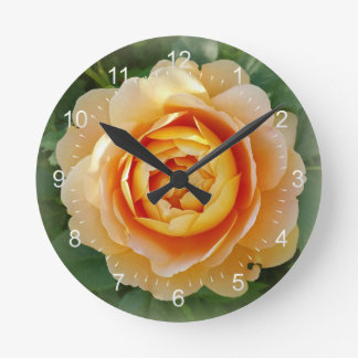 Golden rose round clock