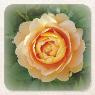 Golden rose square paper coaster