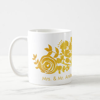 golden roses custom quote coffee mug