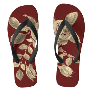 Golden Roses on Maroon Background Flip Flops