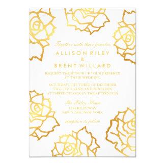 Golden Roses Wedding Invitation - White