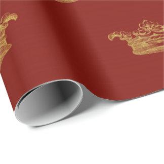 Golden Royal Burgundy King Crown Heraldic Princess Wrapping Paper