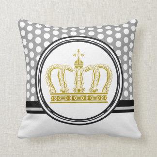 Golden Royal Crown + your backgr. & ideas Throw Pillow
