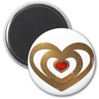 Golden Ruby Heart Pendant Magnet