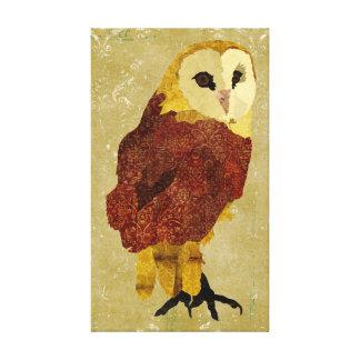 Golden Ruby Owl Canvas