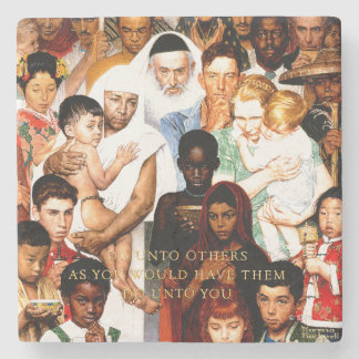 Golden Rule (Do unto others) by Norman Rockwell Stone Coaster