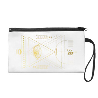 Golden Sacred Geometry Wristlet Boho Bag