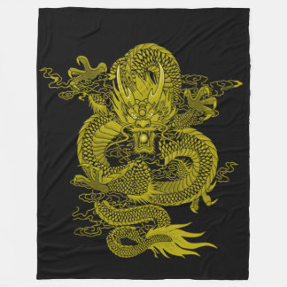 Golden Samurai Dragon Spirit Fleece Blanket