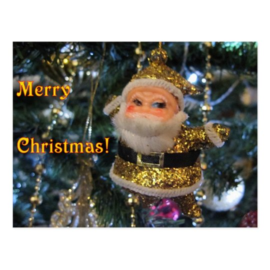 Golden Santa Merry Christmas Postcard