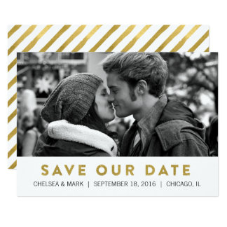 Golden Save The Date | Modern Photo Card