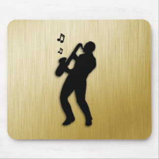 Golden Saxophone Player Mouse Pad