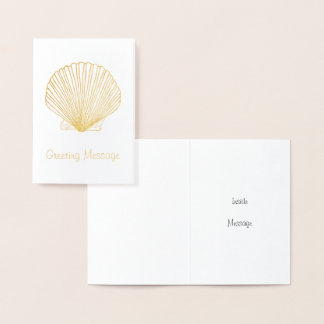 Golden Scallop Seashell Card Template