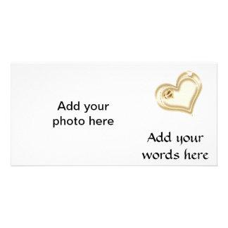 Golden Scrapbook Heart Photo Cards