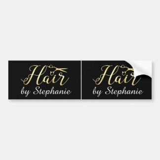 Golden Script Scissors Hairstylist Hair Salon Bumper Sticker