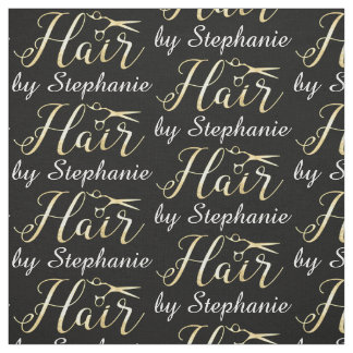 Golden Script Scissors Hairstylist Hair Salon Fabric