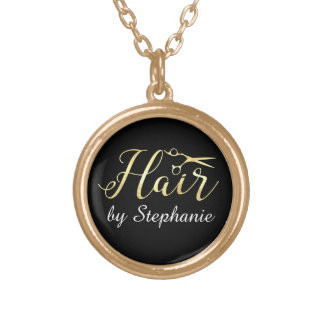 Golden Script Scissors Hairstylist Hair Salon Gold Plated Necklace