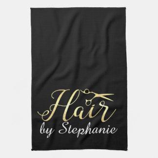 Golden Script Scissors Hairstylist Hair Salon Kitchen Towel