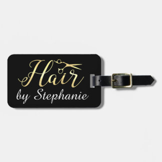 Golden Script Scissors Hairstylist Hair Salon Luggage Tag