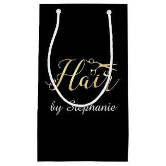 Golden Script Scissors Hairstylist Hair Salon Small Gift Bag