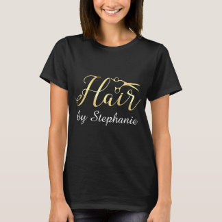 Golden Script Scissors Hairstylist Hair Salon T-Shirt