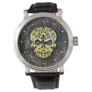 Golden Scroll Skull on Black Textured Back Watch