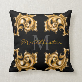 Golden Scrolled Laurels Family Name Throw Pillow