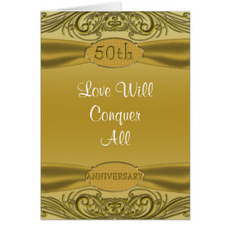 Golden Scrolls 50th Wedding Anniversary Card