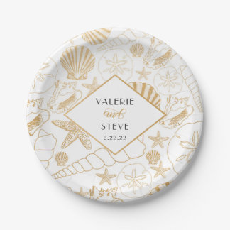 Golden sea shell wedding or bridal shower decor paper plate