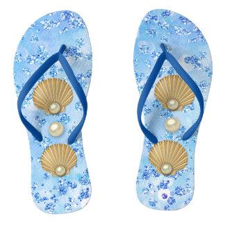 Golden Seashells & Pearls Blue Bokeh Bling Flip Flops