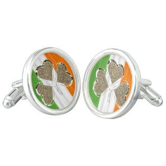 Golden Shamrock Clover Irish Flag Ireland Chic Cufflinks