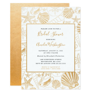Golden Shell Bridal Shower invite, beach theme Card
