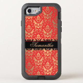 Golden Shimmer Red and Black Victorian Damask OtterBox Defender iPhone 7 Case