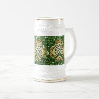Golden Shining Celtic Shamrock Green Faux Glitter Beer Stein