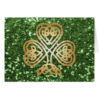Golden Shining Celtic Shamrock Green Faux Glitter Card
