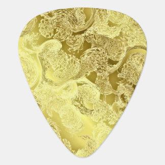 Golden shiny pattern chic stripes fractal elegant guitar pick