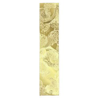 Golden shiny pattern chic stripes fractal elegant short table runner