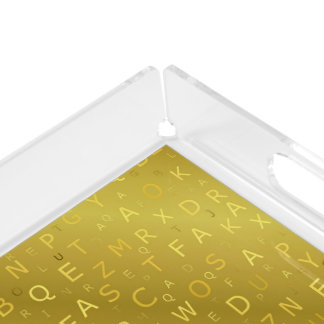 Golden shiny pattern letters chic stripes fractal acrylic tray