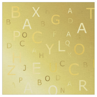 Golden shiny pattern letters chic stripes fractal fabric