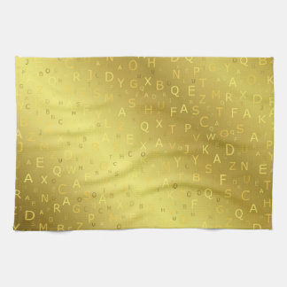 Golden shiny pattern letters chic stripes fractal kitchen towel