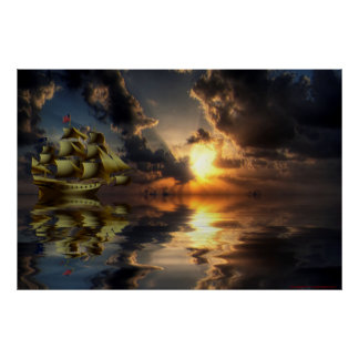 Golden-Ship-Sunset-2-Paint Poster