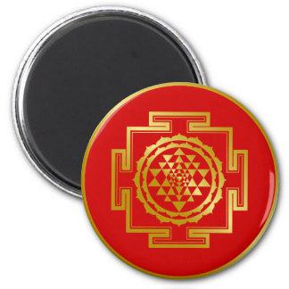 Golden Shree Yantra 2 Inch Round Magnet