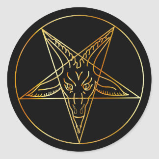 Golden sigil of Baphomet Classic Round Sticker
