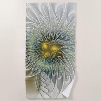 Golden Silver Flower Fantasy abstract Fractal Art Beach Towel
