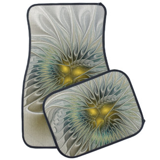 Golden Silver Flower Fantasy abstract Fractal Art Car Mat