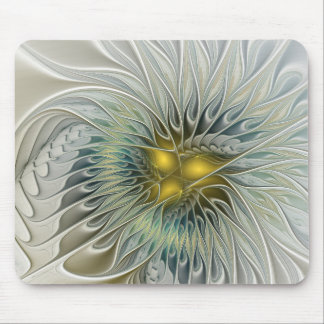 Golden Silver Flower Fantasy abstract Fractal Art Mouse Pad