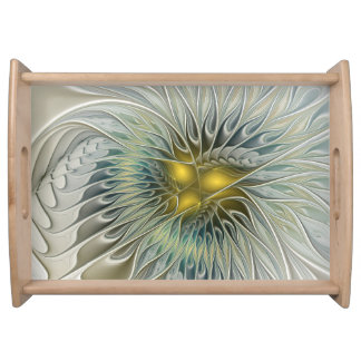 Golden Silver Flower Fantasy abstract Fractal Art Serving Tray