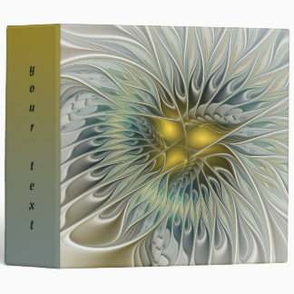 Golden Silver Flower Fantasy abstract Fractal Text Vinyl Binder