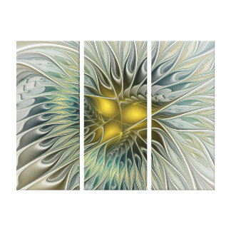 Golden Silver Flower Fantasy abstract Triptych Canvas Print