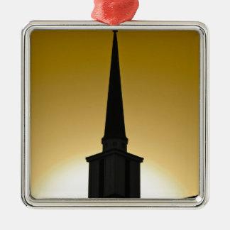 Golden Sky Steeple Silver-Colored Square Ornament